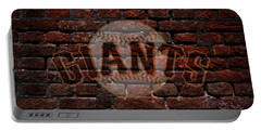 Giants Baseball Graffiti On Brick  Portable Battery Charger