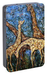 Portable Battery Charger featuring the painting Giraffe Family by Xueling Zou