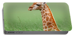 Giraffe Lying In Grass Portable Battery Charger