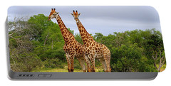 Giraffe Males Before The Storm Portable Battery Charger