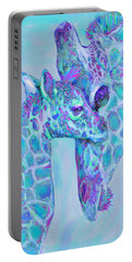 Giraffe Shades  Purple And Aqua Portable Battery Charger