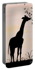 Giraffe Silhouette Painting By Carolyn Bennett Portable Battery Charger