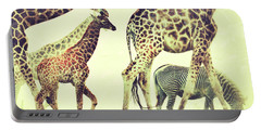 Giraffes And A Zebra In The Mist Portable Battery Charger
