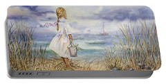 Girl At The Ocean Portable Battery Charger
