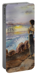 Portable Battery Charger featuring the painting Girl And The Ocean Sailing Ship by Irina Sztukowski