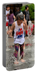 Girl Child Plays With Water At Fountain Singapore Portable Battery Charger