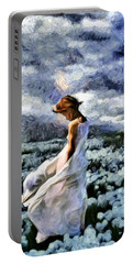 Girl In A Cotton Field Portable Battery Charger