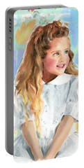 Girl In A White Lace Dress  Portable Battery Charger by Greta Corens