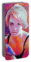 Girl On Fire Portable Battery Charger by Jane Schnetlage