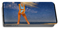 Girl On The Beach...watercolor Effected Portable Battery Charger