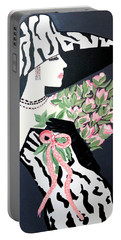 Girl That Loves Pink  Art Deco Portable Battery Charger