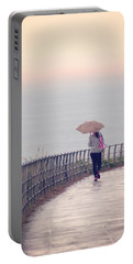Girl Walking With Umbrella Portable Battery Charger