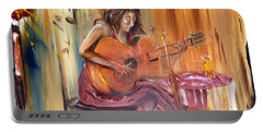 Girl With A Guitar Portable Battery Charger