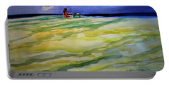 Girl With Dog On The Beach Portable Battery Charger