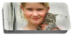 Girl With Kitten Portable Battery Charger