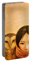 Girl With Owl Portable Battery Charger