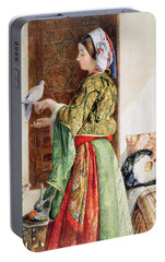 Girl With Two Caged Doves, Cairo, 1864 Portable Battery Charger by John Frederick Lewis
