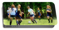Girls Playing Soccer Portable Battery Charger