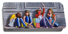 Girls Waiting For Ride Portable Battery Charger
