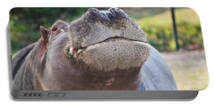 Portable Battery Charger featuring the photograph Give Me A Kiss Hippo by Eti Reid