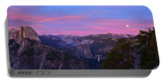 Glacier Point With Sunset And Moonrise Portable Battery Charger