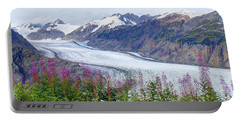 Portable Battery Charger featuring the photograph Glacier With Fireweeds by Stanza Widen