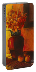 Portable Battery Charger featuring the painting Gladioli Red by Marlene Book