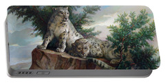 Glamorous Friendship- Snow Leopards Portable Battery Charger
