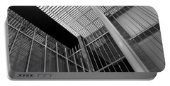 Glass Steel Architecture Lines Black White Portable Battery Charger