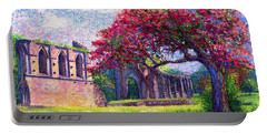 Portable Battery Charger featuring the painting Glastonbury Abbey Blossom by Jane Small