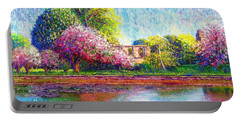 Portable Battery Charger featuring the painting Glastonbury Abbey Lily Pool by Jane Small