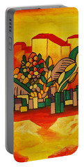Portable Battery Charger featuring the painting Global Warning by Barbara St Jean