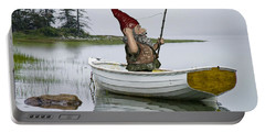 Gnome Fisherman In A White Maine Boat On A Foggy Morning Portable Battery Charger