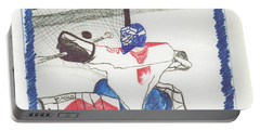 Portable Battery Charger featuring the drawing Goalie By Jrr by First Star Art