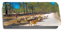 Goats Cross The Road With Tarahumara Boy As Goatherd-chihuahua Portable Battery Charger