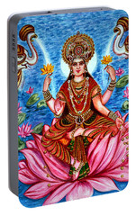 Portable Battery Charger featuring the painting Goddess Lakshmi by Harsh Malik