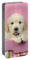 Gold Retriever Pink Background Portable Battery Charger