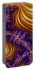 Golden And Purple Fractal River And Mountain Landscape Portable Battery Charger
