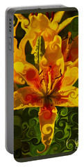Portable Battery Charger featuring the painting Golden Beauties by Omaste Witkowski