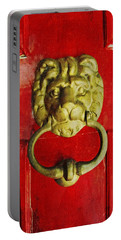 Golden Brass Lion On Red Door Portable Battery Charger