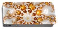 Golden Brown And White Luxe Abstract Art Portable Battery Charger