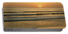 Golden California Sunset - Ocean Waves Sun And Surfers Portable Battery Charger by Georgia Mizuleva