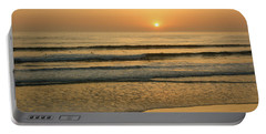 Golden California Sunset - Ocean Waves Sun And Surfers Portable Battery Charger