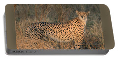 Golden Cheetah At Sunset Portable Battery Charger