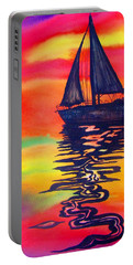 Portable Battery Charger featuring the painting Golden Dreams by Lil Taylor