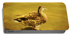 Portable Battery Charger featuring the photograph Golden Duck by Nicola Nobile