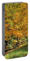 Portable Battery Charger featuring the photograph Golden Fenceline by Gordon Elwell