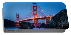 Golden Gate At Twilight Portable Battery Charger by Linda Villers