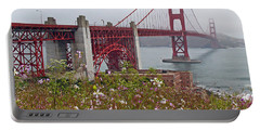 Golden Gate Bridge And Summer Flowers Portable Battery Charger