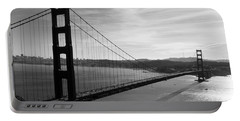 Golden Gate Bridge In Black And White Portable Battery Charger
